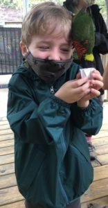 photo of kiddo with a lorikeet bird on its head feeding from handheld nectar cups.
